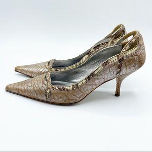 Miu Miu Prada Kitten Heels Leather Pointed Toe